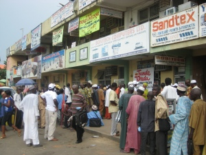 People waiting to get food, see the doctors and the pastors in Abuja, Nigeria.